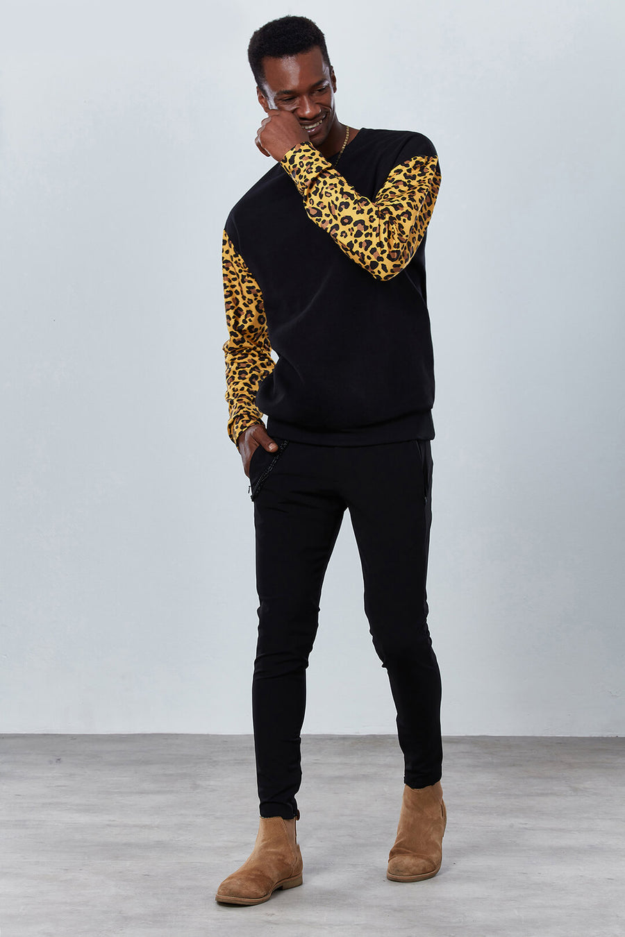 DDG3059 Wild Animal Print Sweatshirt with Black Sleeves Dear Deer front
