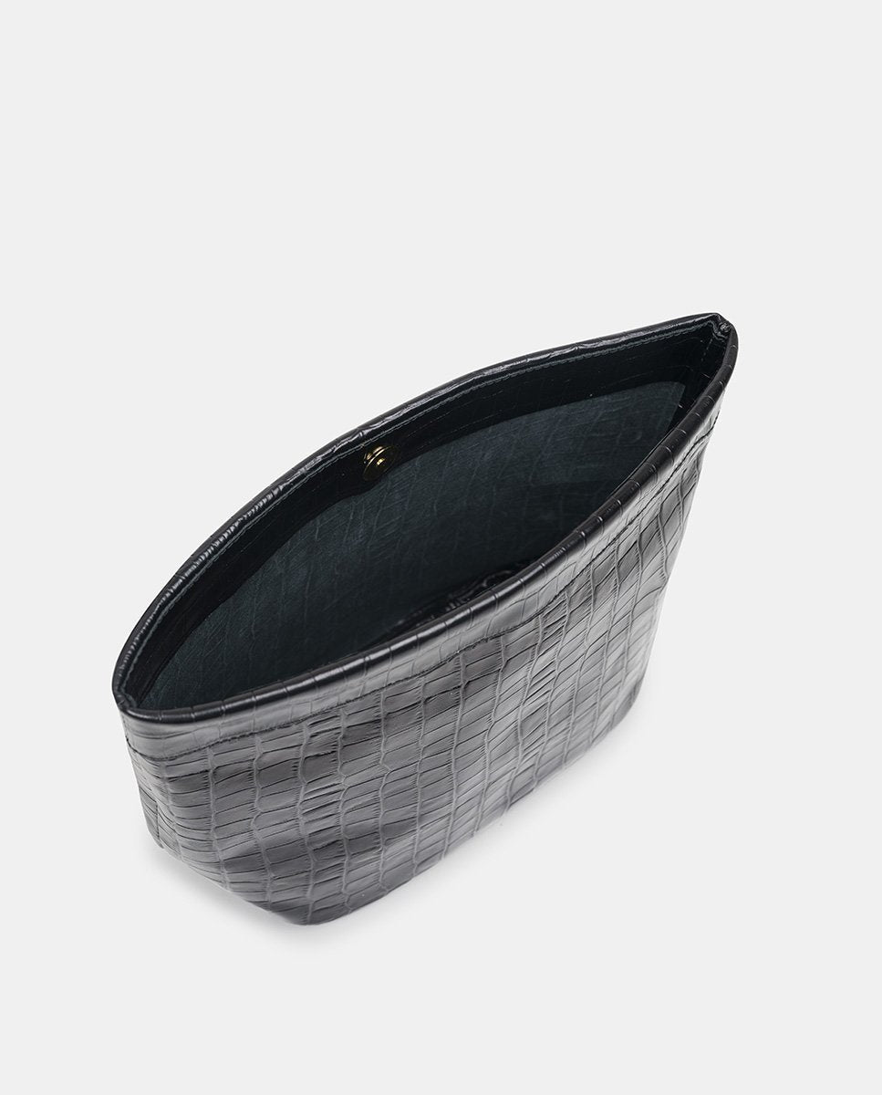 Black Croc Embossed Leather Paper Bag Clutch - The Clothing LoungeLEANDRA