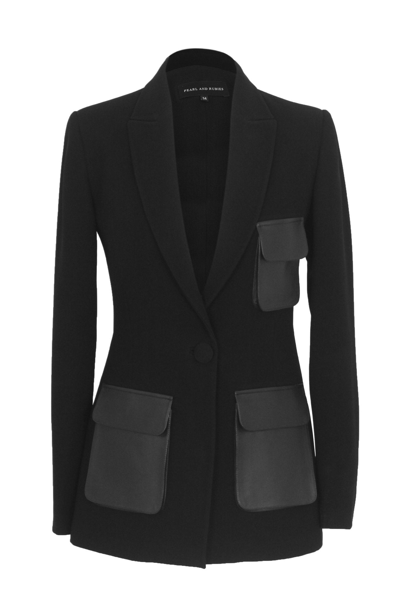 Crepe Blazer With Leather Utility Pockets - The Clothing LoungePEARL AND RUBIES