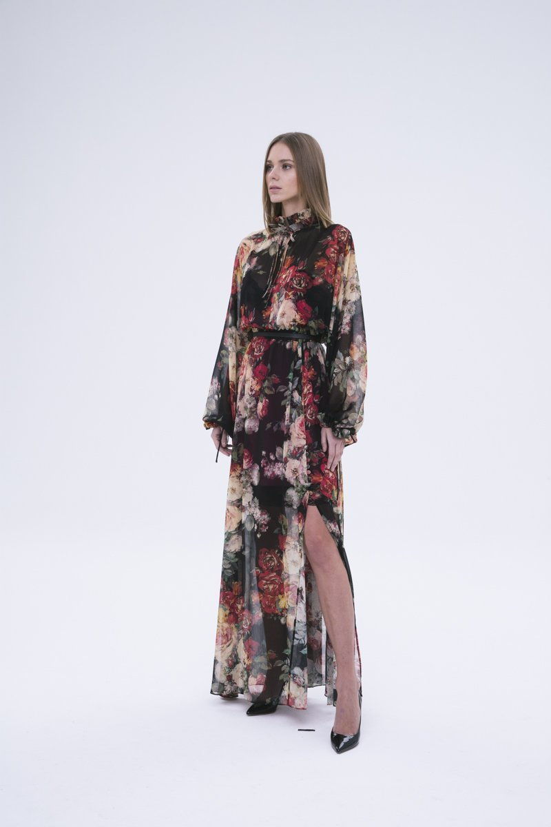 Floral Maxi Dress with Knee Slit: SONIA - FASH - The Clothing LoungeFASH