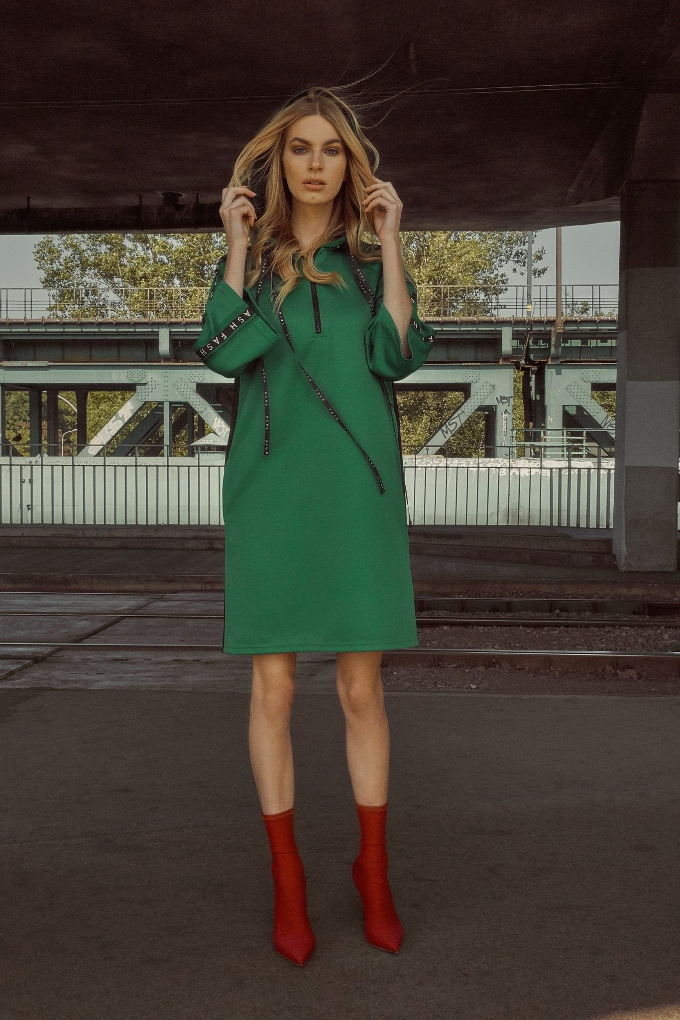 Green & Black Tunic Dress: ANDY - FASH - The Clothing LoungeFASH