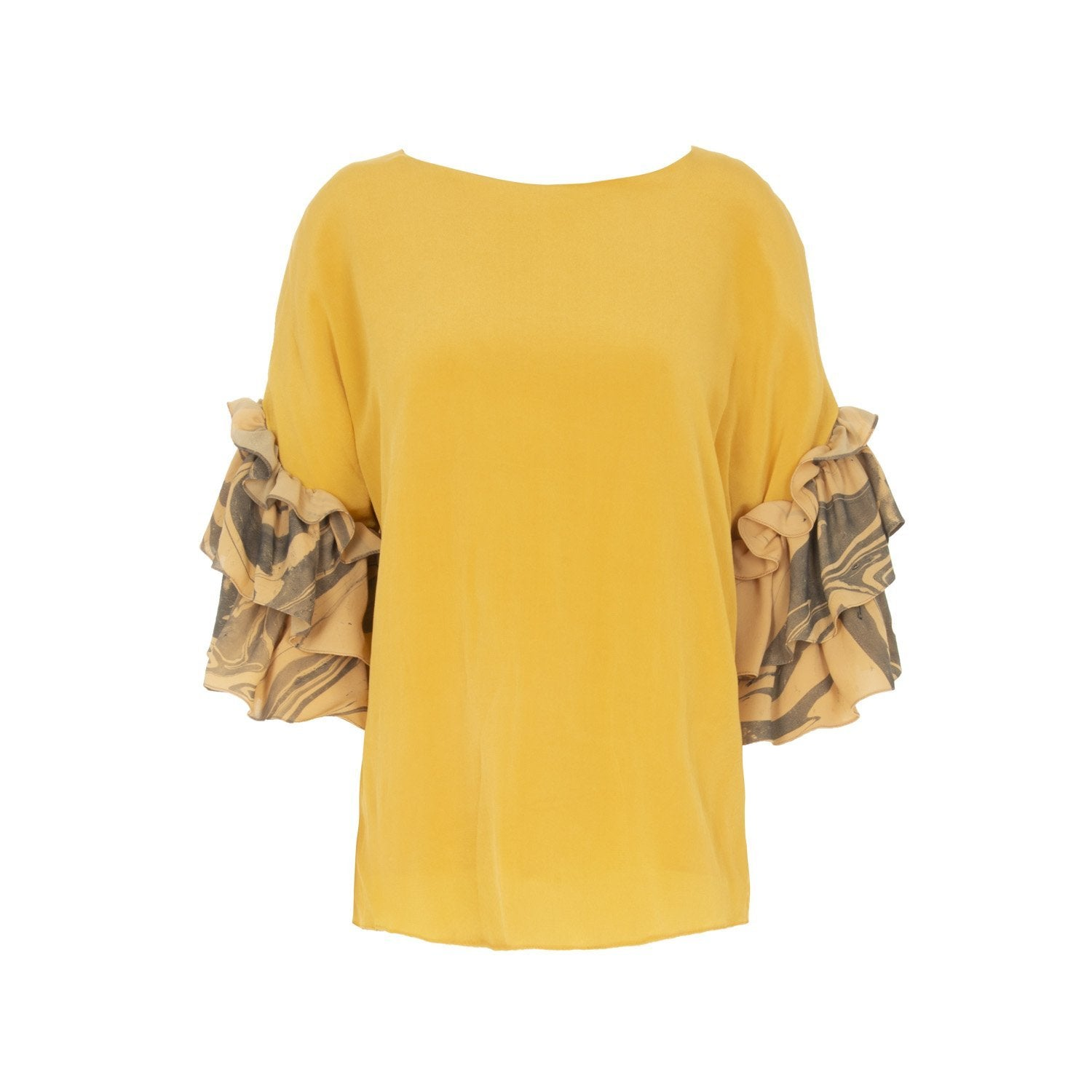Hand Marbled Contrast Flounce Top - The Clothing LoungeEdward Mongzar