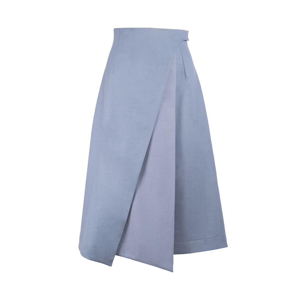 PIGEON BLUE VIRGIN WOOL SKIRT - The Clothing LoungeSHOPYTE