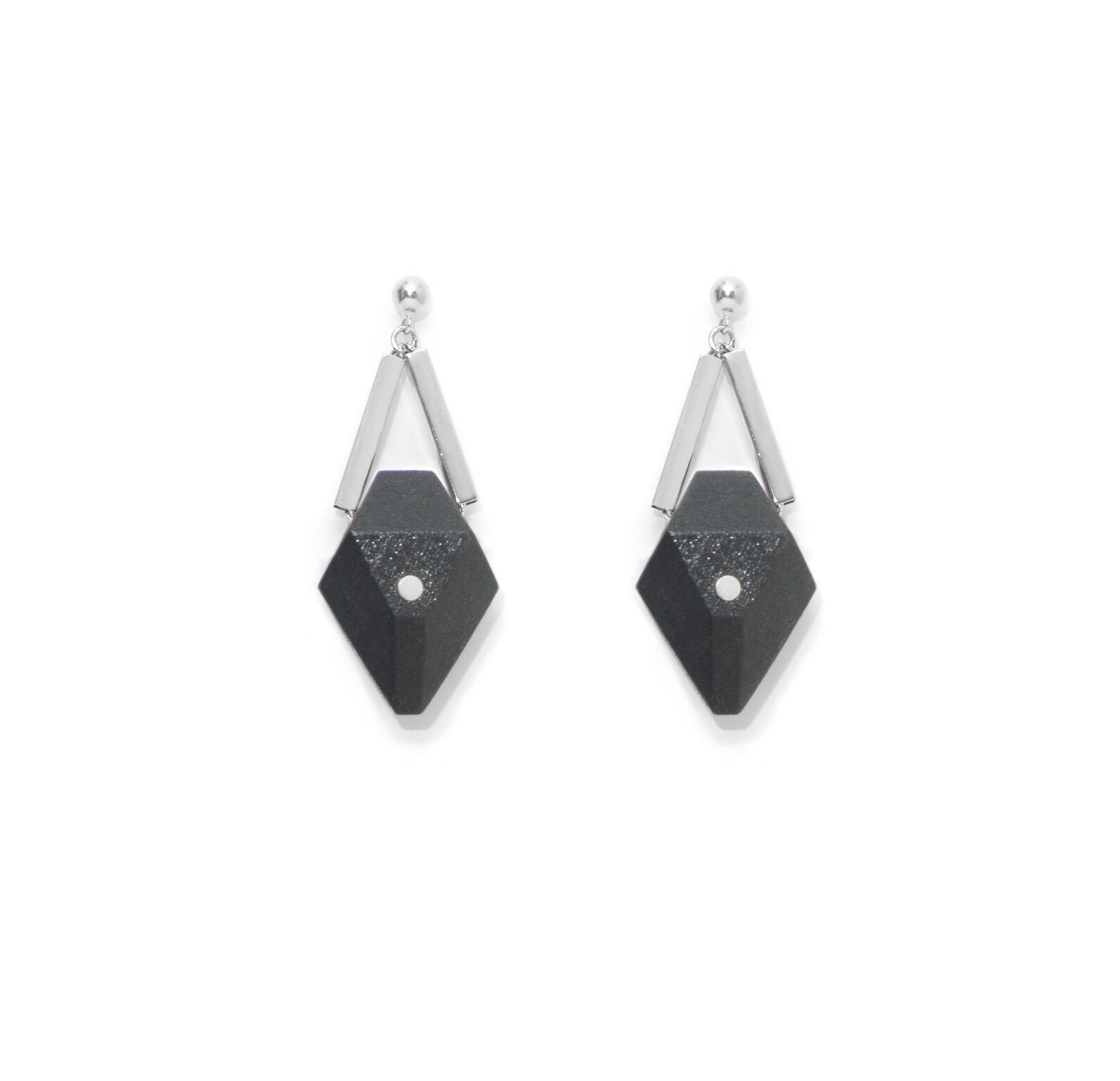Pin Black Silver Earrings - The Clothing LoungeSalomé Charly