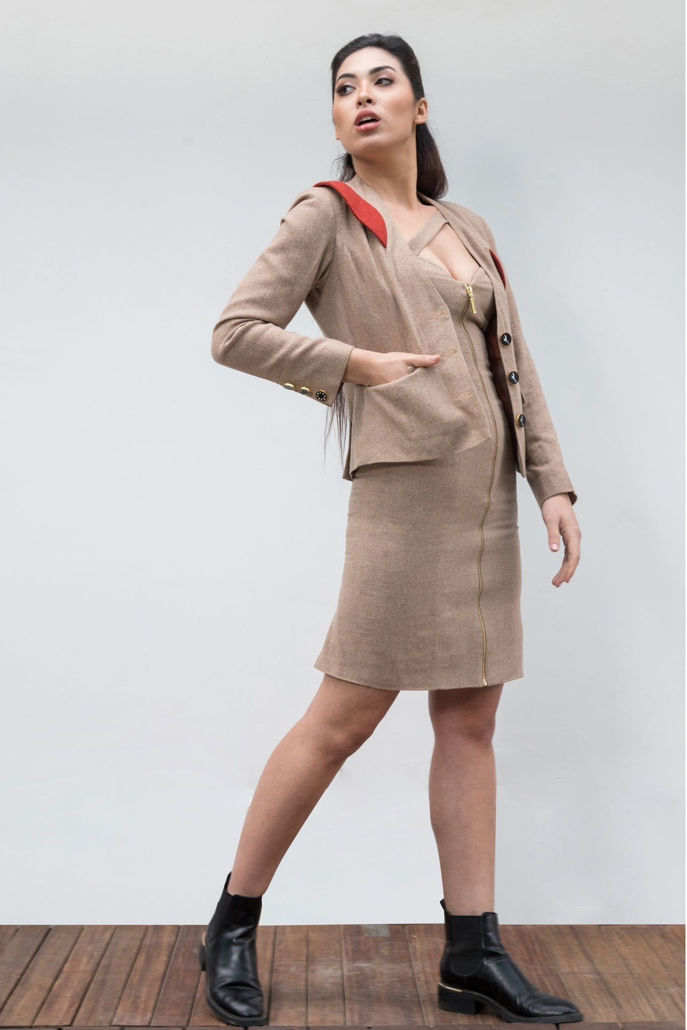 Stroked Camel & Tan Wool Jacket - The Clothing LoungeSatatland
