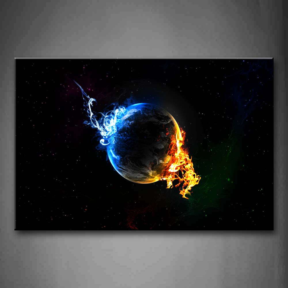 Abstract Earth Yellow Blue Space Wall Art Painting The Picture Print On Canvas Abstract Pictures For Home Decor Decoration Gift