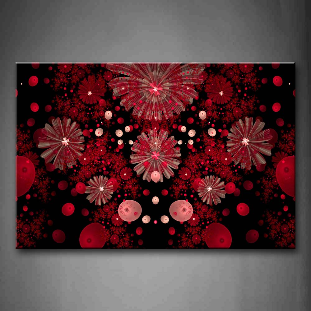Abstract Red Pink Black Circles Like Flower Wall Art Painting Pictures Print On Canvas Abstract The Picture For Home Modern Decoration