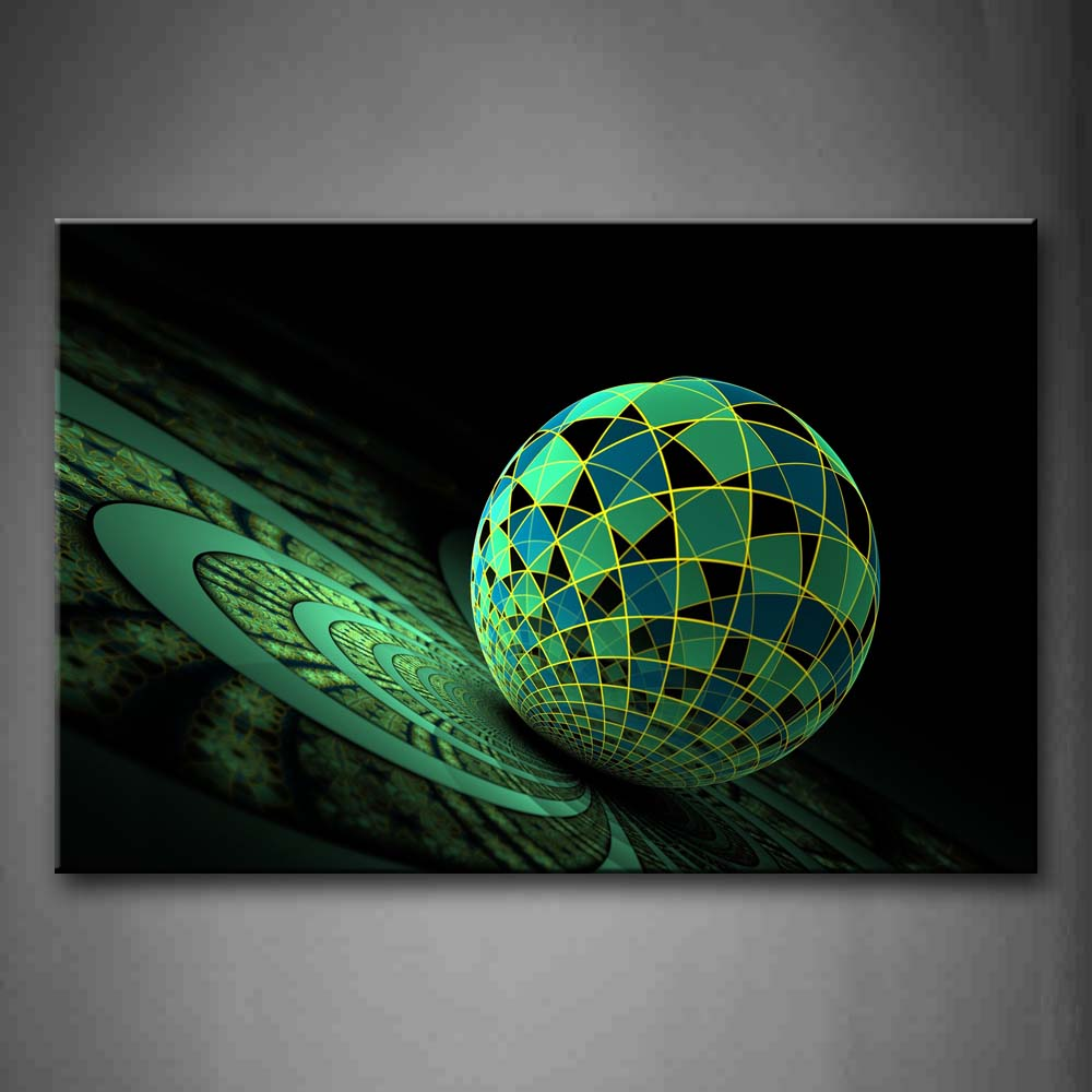Ball Circle Green Blue Wall Art Painting Pictures Print On Canvas Abstract The Picture For Home Modern Decoration
