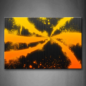 Yellow Orange Orange Abstract Black Wall Art Painting Pictures Print On Canvas Abstract The Picture For Home Modern Decoration