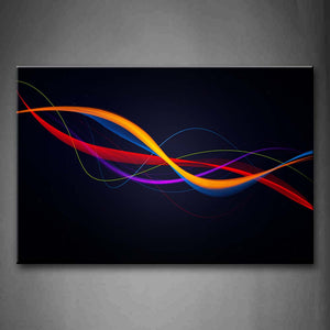 Abstract Colorful Lines Dark Blue Background  Wall Art Painting Pictures Print On Canvas Abstract The Picture For Home Modern Decoration