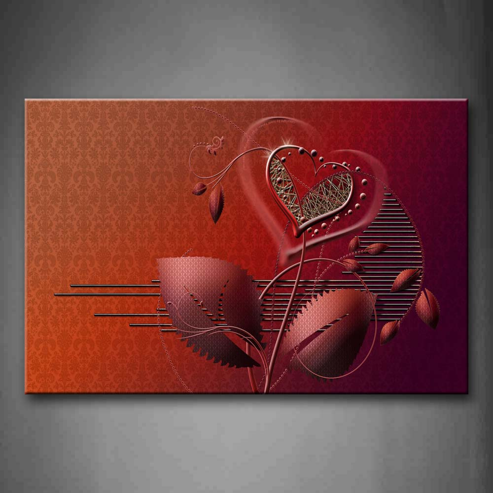 Abstract Pink Like A Plant Hearts Wall Art Painting The Picture Print On Canvas Abstract Pictures For Home Decor Decoration Gift
