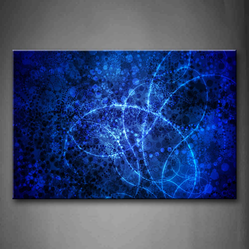 Artistic Blue Circles Lines Wall Art Painting The Picture Print On Canvas Abstract Pictures For Home Decor Decoration Gift