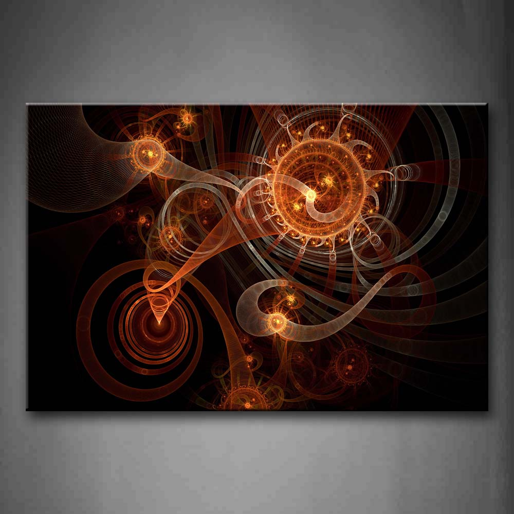Abstract Spiral Orange Black Background Wall Art Painting The Picture Print On Canvas Abstract Pictures For Home Decor Decoration Gift