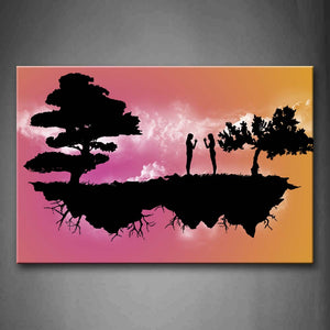 Artistic Black Trees Peoples Land On Pink Heaven Wall Art Painting Pictures Print On Canvas Abstract The Picture For Home Modern Decoration