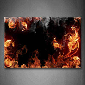Artistic Abstract Like Plant Smoke Yellow Black Wall Art Painting The Picture Print On Canvas Abstract Pictures For Home Decor Decoration Gift