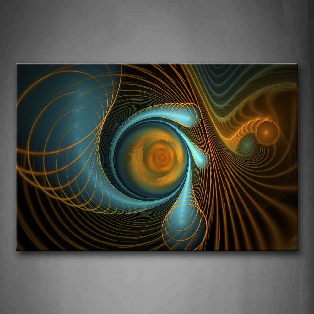 Abstract Spiral Blue Yellow  Wall Art Painting Pictures Print On Canvas Abstract The Picture For Home Modern Decoration