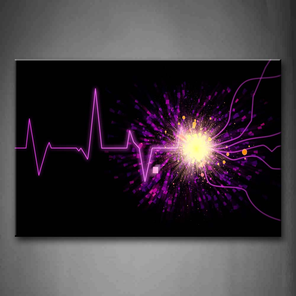 Artistic Purple Wave Light Black Background Wall Art Painting The Picture Print On Canvas Abstract Pictures For Home Decor Decoration Gift