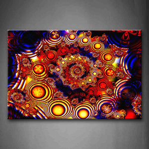Abstract Red Blue Circles Yellow Beautiful Wall Art Painting Pictures Print On Canvas Abstract The Picture For Home Modern Decoration