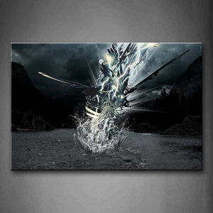Black And White Abstract Thunder Lake Mountain Gray Cloud Wall Art Painting The Picture Print On Canvas Abstract Pictures For Home Decor Decoration Gift
