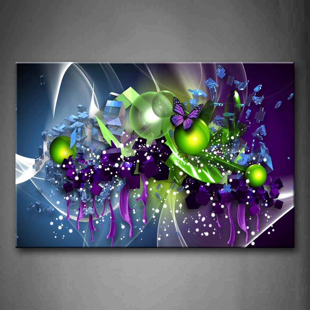 Artistic Purple Butterfly Green Ball Wall Art Painting The Picture Print On Canvas Abstract Pictures For Home Decor Decoration Gift