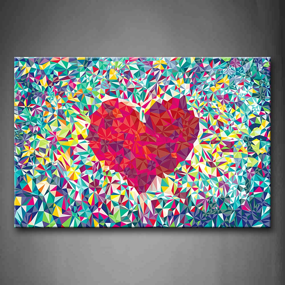 Abstract Colors Heart Wall Art Painting Pictures Print On Canvas Abstract The Picture For Home Modern Decoration