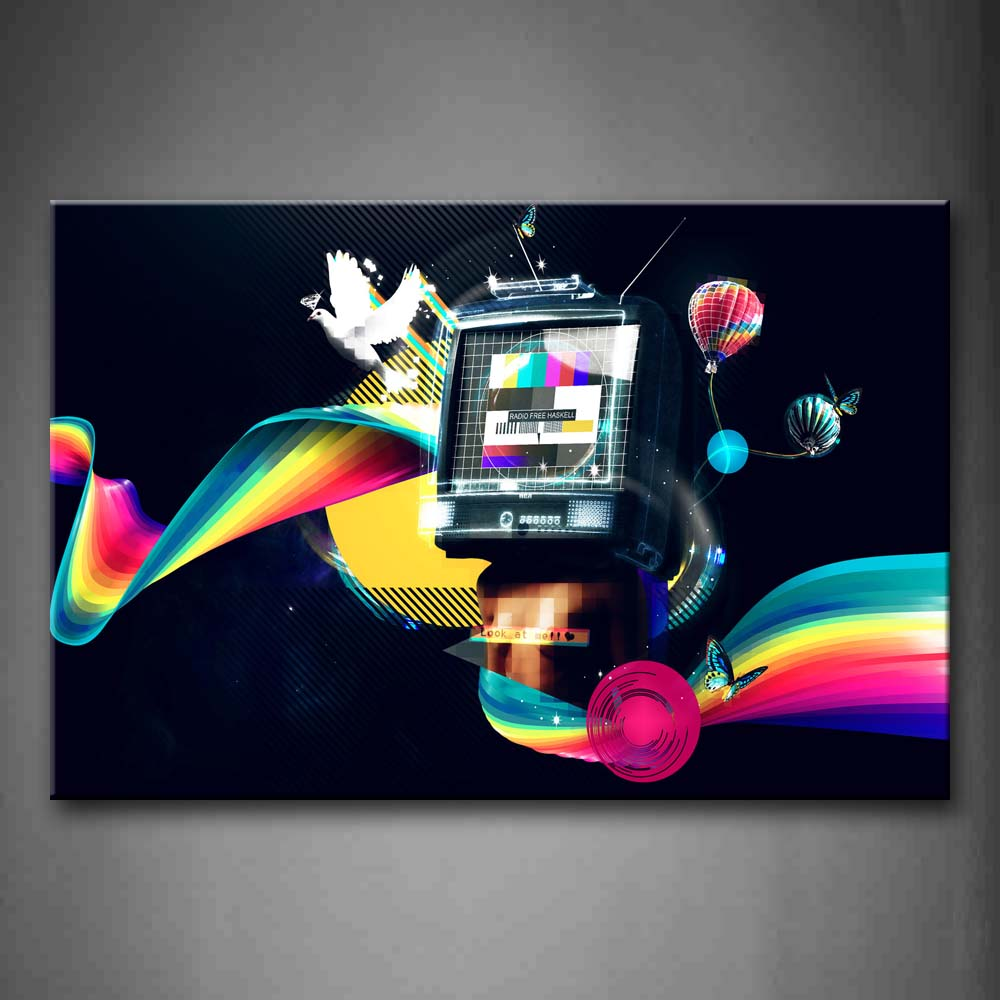 Artistic Tv Fire Balloon Ribbons Butterfly Bird Wall Art Painting Pictures Print On Canvas Abstract The Picture For Home Modern Decoration