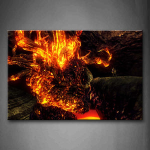 Abstract Like Lava Yellow Rock Wall Art Painting The Picture Print On Canvas Abstract Pictures For Home Decor Decoration Gift