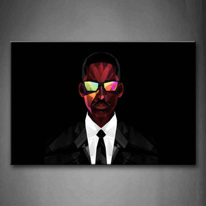Black Background A Man With A Glass Wall Art Painting The Picture Print On Canvas Abstract Pictures For Home Decor Decoration Gift