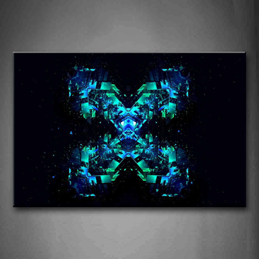Black Background Blue Green Shape Wall Art Painting The Picture Print On Canvas Abstract Pictures For Home Decor Decoration Gift