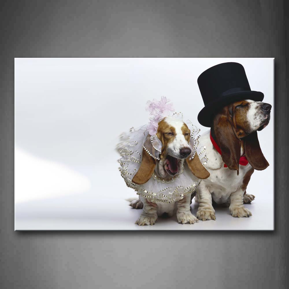 Basset Hounds Wear Hat Like Marry Wall Art Painting Pictures Print On Canvas Animal The Picture For Home Modern Decoration
