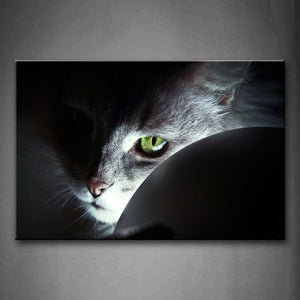 Black And White Cat Head At Noght Light  Wall Art Painting Pictures Print On Canvas Animal The Picture For Home Modern Decoration