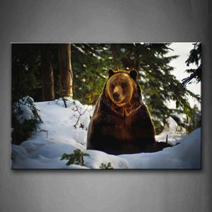 Bear Sit On Snowfield Trees Wall Art Painting Pictures Print On Canvas Animal The Picture For Home Modern Decoration