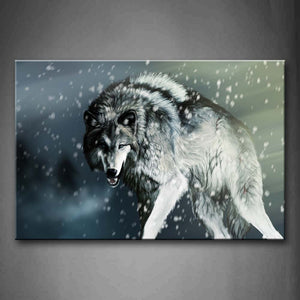Artistic Wolf Snowing Wall Art Painting Pictures Print On Canvas Animal The Picture For Home Modern Decoration