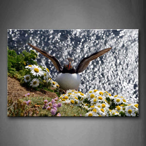 Bird Stand Near A Sea And Flower Wall Art Painting The Picture Print On Canvas Animal Pictures For Home Decor Decoration Gift