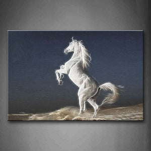 Artistic A White Horse Stand  Wall Art Painting The Picture Print On Canvas Animal Pictures For Home Decor Decoration Gift