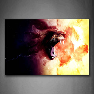Artistic A Fierce Open Mouth Head Wall Art Painting The Picture Print On Canvas Animal Pictures For Home Decor Decoration Gift