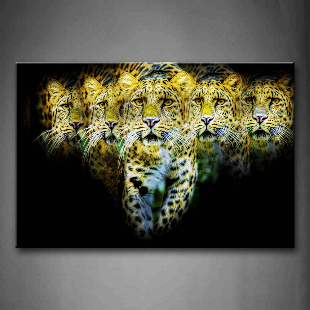 Artistic Many Jaguar In Black Background Wall Art Painting The Picture Print On Canvas Animal Pictures For Home Decor Decoration Gift