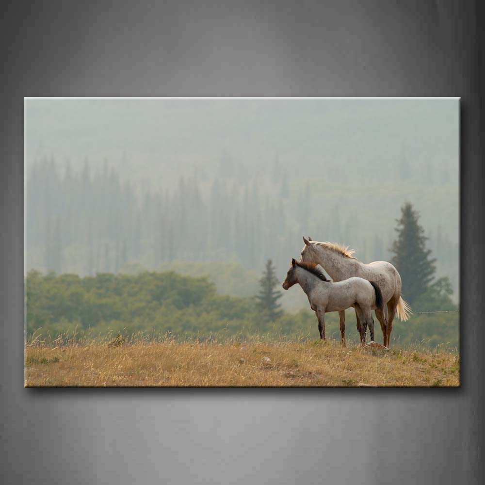 Big And Small Horses Stand On Dry Grass Hill Trees Wall Art Painting The Picture Print On Canvas Animal Pictures For Home Decor Decoration Gift