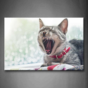 A Cat Open Mouth Lie On Blanket Wall Art Painting The Picture Print On Canvas Animal Pictures For Home Decor Decoration Gift