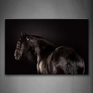 Black Horse Portrait Black Background Wall Art Painting Pictures Print On Canvas Animal The Picture For Home Modern Decoration