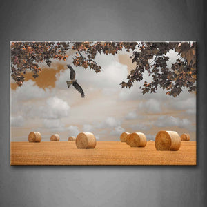 Bird Fly Over Yellow Grassland Tree Hayrick  Wall Art Painting The Picture Print On Canvas Animal Pictures For Home Decor Decoration Gift