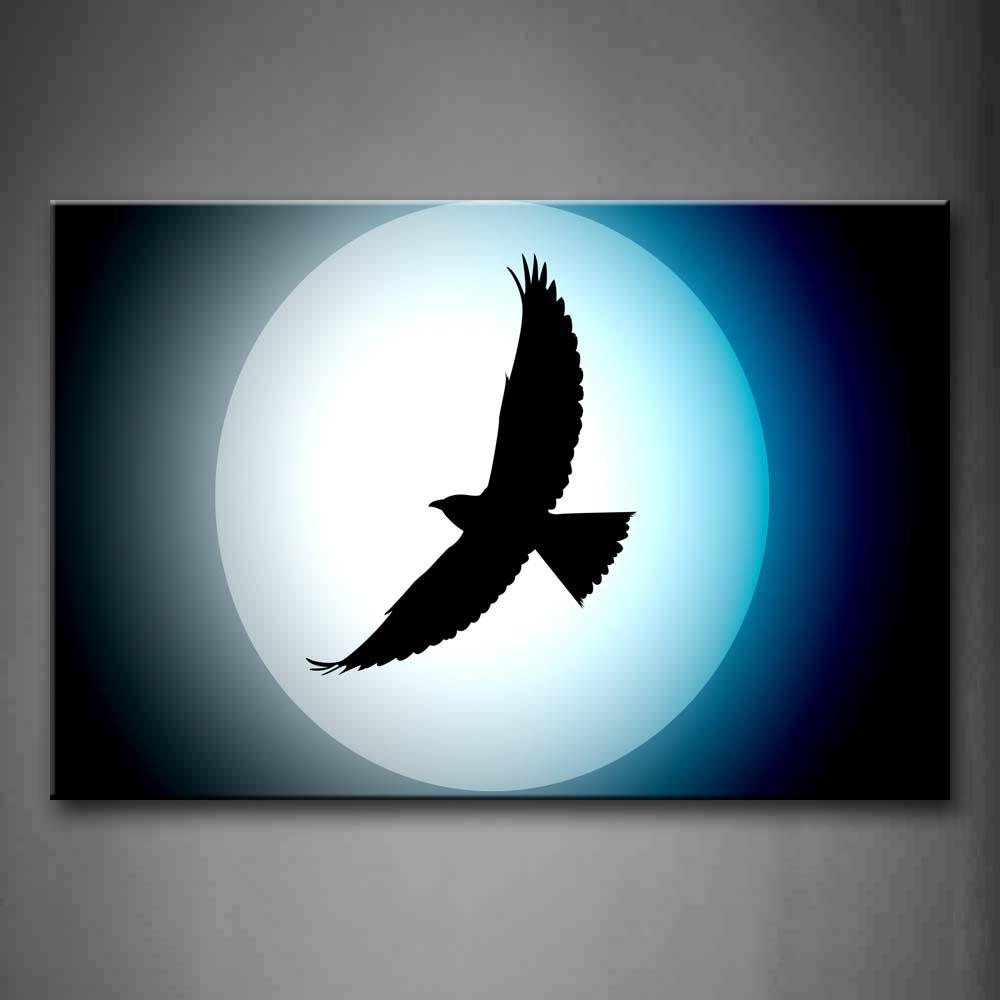 Artistic Hawk Fly Under Bright Moon Wall Art Painting The Picture Print On Canvas Animal Pictures For Home Decor Decoration Gift