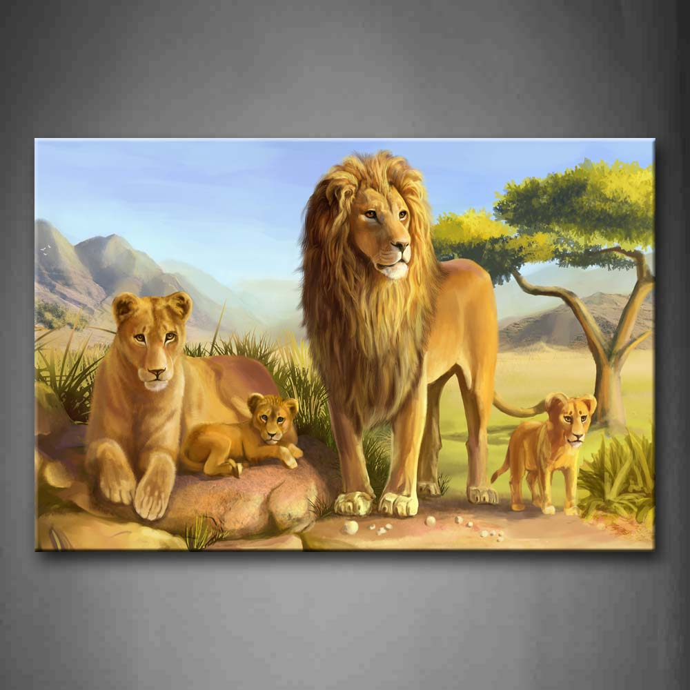 A Family Of Lion On Rock Tree Grass Mountain Wall Art Painting Pictures Print On Canvas Animal The Picture For Home Modern Decoration