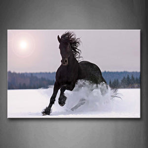 Black Horse Run On Snowfield Dawn Hill Wall Art Painting The Picture Print On Canvas Animal Pictures For Home Decor Decoration Gift