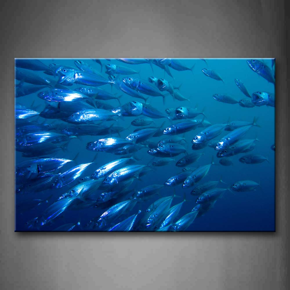 A Group Of Fish In Blue Sea Wall Art Painting Pictures Print On Canvas Animal The Picture For Home Modern Decoration