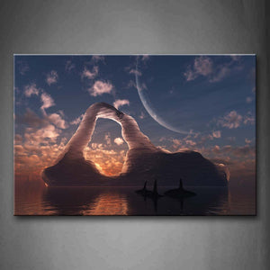 Artistic Sharks Swim On Sea Iceberg At Dusk Wall Art Painting The Picture Print On Canvas Animal Pictures For Home Decor Decoration Gift