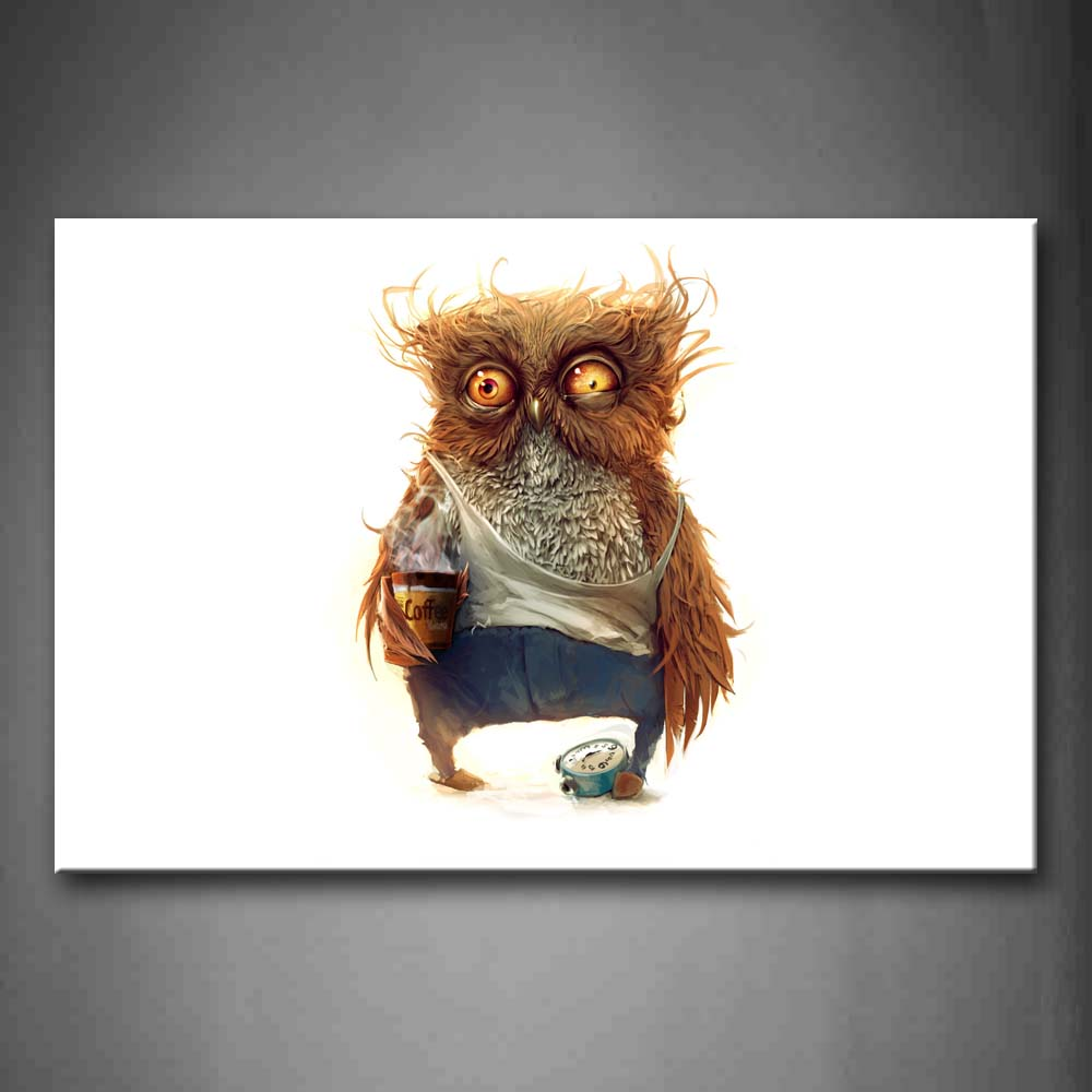 Artistic Owl Wear Cloth In White Background Wall Art Painting Pictures Print On Canvas Animal The Picture For Home Modern Decoration
