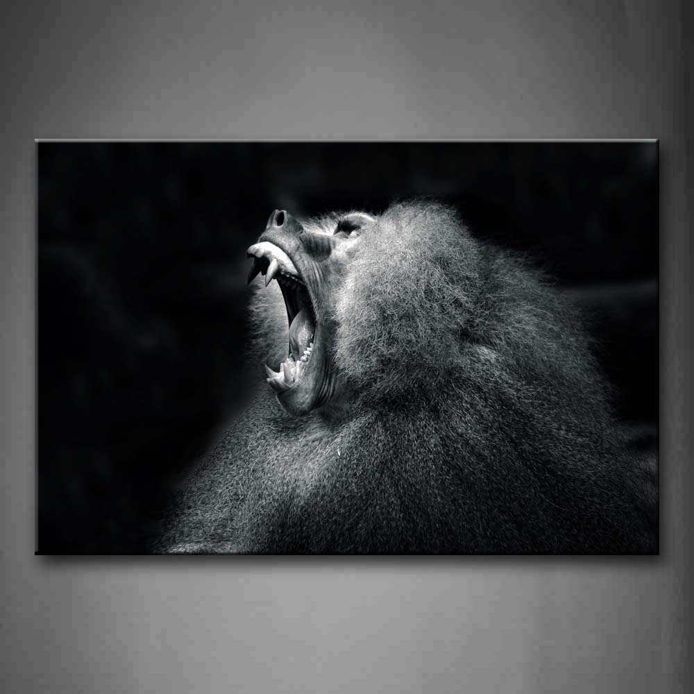 Black And White Monkey Howl Portrait At Night Wall Art Painting The Picture Print On Canvas Animal Pictures For Home Decor Decoration Gift