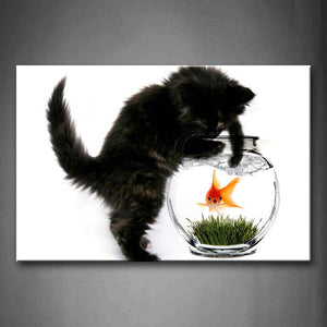 Black Cat Stand By Fish Tank And Want To Catch Fish  Wall Art Painting The Picture Print On Canvas Animal Pictures For Home Decor Decoration Gift