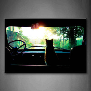 A Cat Sit Inside A Car Wall Art Painting The Picture Print On Canvas Animal Pictures For Home Decor Decoration Gift